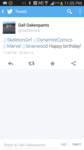 This came out on my BDay, Gail Simone tweeted HBD to me!